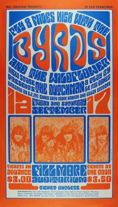 September 9-10 1966 Artist Wes Wilson. The Byrds, Wildflower, New Stage Company at Fillmore Auditorium, SF © 1966 Bill Graham © Wes Wilson
