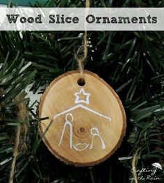 DIY wood slice ornam