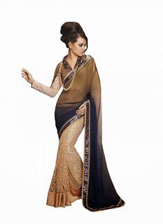 Attractive Beige, Brown & Navy Blue Embroidered Saree #wedding #Saree #lehnga #ethnic #wear #Anarkali #Muslim #Indian #Fashion #Salwar #Kameez #party #Dresses  #women #blouse #Latest #Outfits #Bridal #Desiwedding #designer  #gorgeous #beautiful #shaadi #suit #bride #stylish #bollywood #beauty