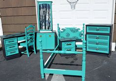 Painted turquoise and black twin bedroom suite for by VRDesigners, $750.00