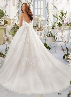 Abiti per matrimonio - $182.49 - Palloncino A cuore Coda a strascico cappella Tyll Abito per matrimonio con Increspature Perline Fiocco/Fiocchi (0025088676)