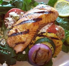 Salmon and grilled vegetable salad! Yum!