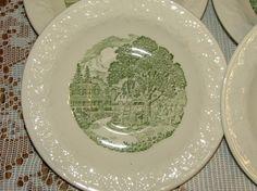 Vintage Pastoral Plates Set  Of  Four by vintagemarbles on Etsy, $6.00