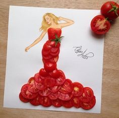 Fashion Illustrator Creates Gorgeous Dress Designs Using Everyday Objects. Design artist Edgar Artis uses adapted patterns items to make lovely dresses. Fashion Design Drawings, Fashion Sketches, Arte Fashion, Illustration Mode, Creative Artwork, Food Drawing, Arte Floral, Everyday Objects, Everyday Items