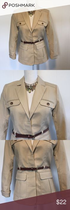 NWOT H&M SAFARI jacket with belt. Size 4. Gorgeous lined jacket with concealed buttons. Arpit to armpit measures 17 inches. H&M Jackets & Coats