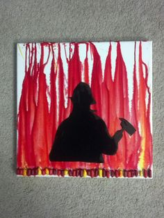 Firefighter silhouette melted crayon art