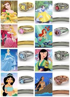 Disney Princess Rings. @K D Eustaquio Downie the Ariel one is screaming your name!