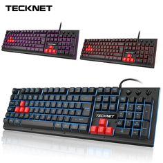 TeckNet Gaming Keyboard LED Backlit 105 keys 3 Color Mechanical Feeling USB Wired Gamer Keyboards UK Layout for Mac OS Windows. Feelings Games, Competition Games, Gadgets Online, Key Design, Gaming Setup, Mac Os, Computer Keyboard, Keys, Usb