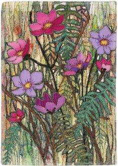 Cosmos by Penny Armitage.  3rd Prize Miniature Quilts, 2014 Festival of Quilts (UK)