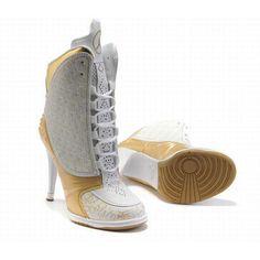 Dependable Air Jordan 23 High Heels White and Gold for Sale -jordan heel boots for women