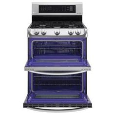 LG Electronics 6.9 cu. ft. Double Oven Gas Range with ProBake Convection Oven, Self Clean and EasyClean in Stainless Steel-LDG4313ST - The Home Depot