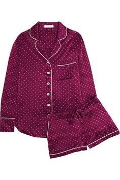 Alba polka-dot silk-satin pajama set