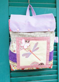 Child backpack purple dragonfly personalized by EphemereCollection