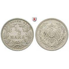 Deutsches Kaiserreich, 1/2 Mark 1906, A, st, J. 16: 1/2 Mark 1906 A. J. 16; stempelfrisch 15,00€ #coins