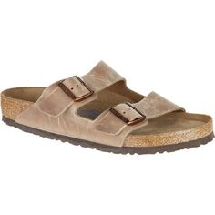Relearn the meaning of foot comfort with the Birkenstock Men's Arizona Soft Footbed Sandal. Its Soft footbed features a smooth suede top-layer, more toe room, a  raised toe bar, a cradling heel cup, and a contoured design for the  utmost arch support. Birkenstock also added moisture-wicking jute  fibers, a sturdy cork midsole, and a shock-absorbing sole that stays  flexible for mobility.