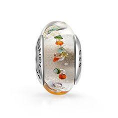 perle verre murano blanche en argent massif 925 et pierres enchâssées