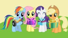 Rainbow Dash, Fluttershy, Applejack and Rarity wallpaper