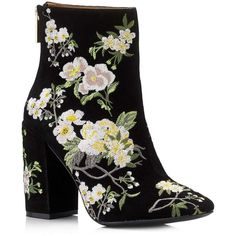 Miss Selfridge ATHENA Floral Embroidered Boot (175050 IQD) ❤ liked on Polyvore featuring shoes, boots, ankle booties, black, short boots, black floral boots, flower print boots, floral-print boots and short black boots