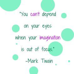 """You can't depend on your eyes when your imagination is out of focus."" -Mark Twain"