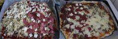 #homemade #pizza 500g bloem, 250 lauw water, zakje gist, theelepel suiker mengen. minimaal 30 min met natte handdoek erover laten rijzen. Uitrollen met wat bloem. beleggen naar smaak. Op foto gevarieerd: tomatensaus, gehakt, kaas, feta, mozarella, salami. 10min in oven op hoogste stand