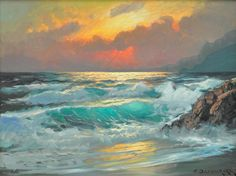 Painting, Alexander Dzigurski, Sunset, Monterey Seascape Paintings, Watercolor Paintings, Landscape Art, Landscape Paintings, Ocean Scenes, Wave Art, Ocean Art, Art Oil, Painting Inspiration
