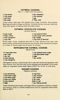 Perfect Cookie Recipes – 20 Baking Tips To Make The Best Cookies Ever - New ideas Retro Recipes, Old Recipes, Vintage Recipes, Cookbook Recipes, Baking Recipes, Sweet Recipes, Cake Recipes, Dessert Recipes, Baking Tips