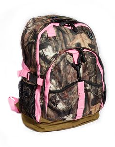 "Mossy Oak Camo 17"" Backpack with Pink Trim...Perfect bag to carry items when hunting or traveling!"