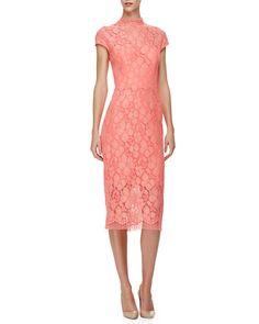 B36F9 Lela Rose Cap-Sleeve Lace Sheath Dress, Pink/Multi