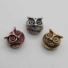 10pcs/lot Antique Sliver Gold Plated Owl Head Beads Zinc Alloy Spacer Bead Metal Charms for Jewelry DIY Making  N2-2