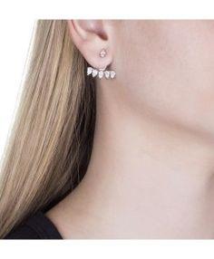 Ear jacket cristal zirconias navetes semijoia