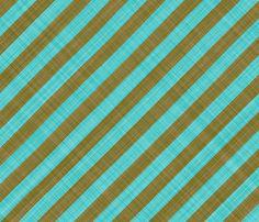Diagonal Linen Stripe - Brown Turquoise fabric by bonnie_phantasm on Spoonflower - custom fabric