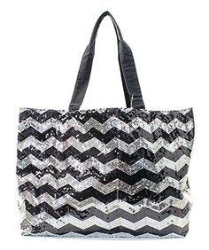 Sequin Chevron Stripe Large Tote Shopping Bag Cheer Dance Teams (BLACK) Handbag Inc http://www.amazon.com/dp/B00Q82ZLXU/ref=cm_sw_r_pi_dp_mwaaxb1674YYF