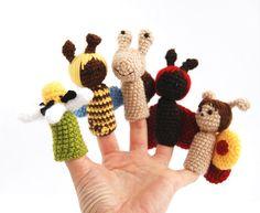5 finger puppet crocheted ladybird snail honeybee by crochAndi, $25.00