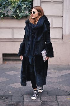 Maja Wyh in a statement coat