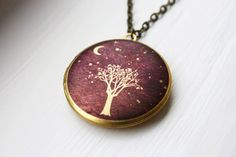 Moonlit Tree illustrated brass locket with long by HiddenTales