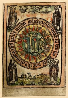 """The Sacred monogram with four Dominican saints; the letters """"ihs"""" are placed on a circle of flames, which is surrounded by another circle with inscription; in the corners stand four Dominican saints - at the top St Dominic l, St Peter Martyr r, at the bottom St Thomas Aquinas l, St Vincent Ferrer r Woodcut with hand-colouring 15cgerman"""