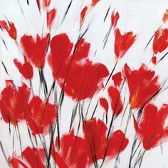 Portfolio Canvas Decor 'Simply Red II' Large Printed Canvas Wall Art ($110) ❤ liked on Polyvore featuring home, home decor, wall art, backgrounds, art, red, decor, flowers, red canvas wall art and red flower wall art