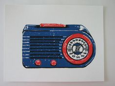 Classic radio linoleum block print by nydampress on Etsy