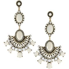 Asos Drop Earrings With Vintage Look Stone And Fan Detail ($27) found on Polyvore