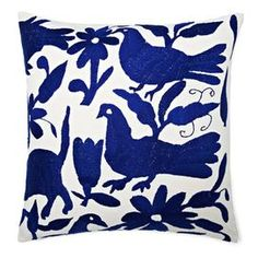Cotton pillow with a bird and floral motif.  Product: PillowConstruction Material: Cotton cover and down fillColor: BlueFeatures: Insert includedDimensions: 18 x 18Cleaning and Care: Dry clean