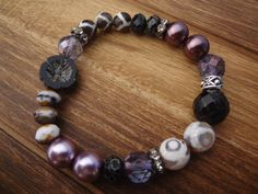 Purple and Pearls Mixed Gemstone Stretch by FeminineGenius on Etsy