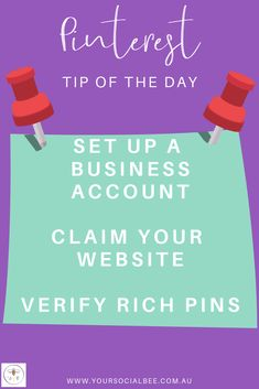 Optimise your Pinterest profile AND access useful features such as better analytics and promoted pins. Complete these 3 steps - set up a business account, claim your website, verify rich pins.    Follow my Pinterest Tip of the Day board or subscribe to my list for more Pinterest tips & tricks! Social Media Content, Social Media Marketing, Tips Instagram, Tip Of The Day, Verify, Pinterest Marketing, Accounting, Improve Yourself, Profile