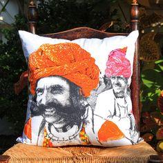 men in turbans cushion cover by plum chutney   notonthehighstreet.com