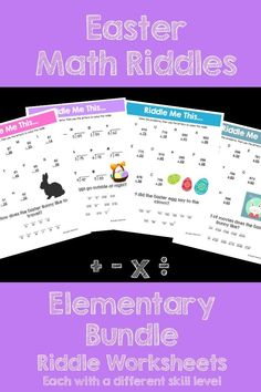 Make math FUN this Easter! This activity is full of computation practice. The students also have a goal of solving a riddle at the end. It is a great way to combine fun and learning! This Bundle includes all of my Easter themed riddles for addition, subtr