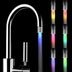 USD Romantic 7 Color Change LED Light Shower Head Water Bath Home Bathroom Glow Feature: brand new and high quality . Quantity: This LED Water Faucet fits on most taps and LED light will light up when you turn on the tap. Glow Water, Water Tap, Light Water, Water Flow, Hard Water, Deco Led, Bathroom Shower Faucets, Bathroom Drain, Bathrooms