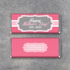 Happy Mother's Day Personalized Candy Bar Wrappers – Printable wrappers featuring your name and cust Great Mothers Day Gifts, Mother Day Gifts, Happy Mothers Day, Candy Bar Wrapper Template, Candy Bar Wrappers, Personalized Candy Bars, Mother's Day Gift Card, Mother's Day Diy, Valentine Crafts