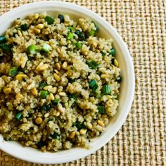 Quinoa Side Dish Recipe with Pine Nuts, Green Onions, and Cilantro (Gluten-Free, Vegan) [from KalynsKitchen.com]