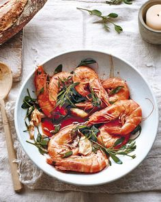 Chilli and garlic prawns with sea purslane recipe Prawn Recipes, Fish Recipes, Seafood Recipes, Purslane Recipe, Easy Starters, Garlic Prawns, Delicious Magazine, Seasonal Food, Fish And Seafood
