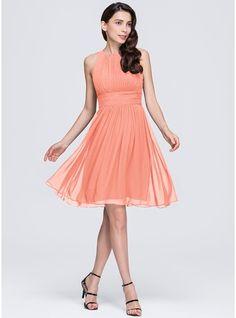 A-Line Princess Scoop Neck Knee-Length Ruffle Zipper Up Regular Straps  Sleeveless No Black Spring Summer General Plus Chiffon Bridesmaid Dress e73f3c67f