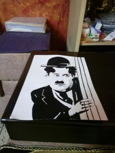 Black and white painting of Charlie Chaplin made by me